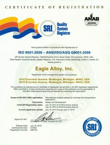 Eagle Alloy ISO 9001:2008 Certificate