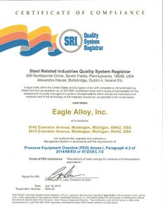 Eagle Alloy PED Certificate