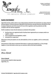 Eagle Alloy RoHS Compliance Letter