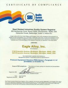 Eagle Alloy PED Certification