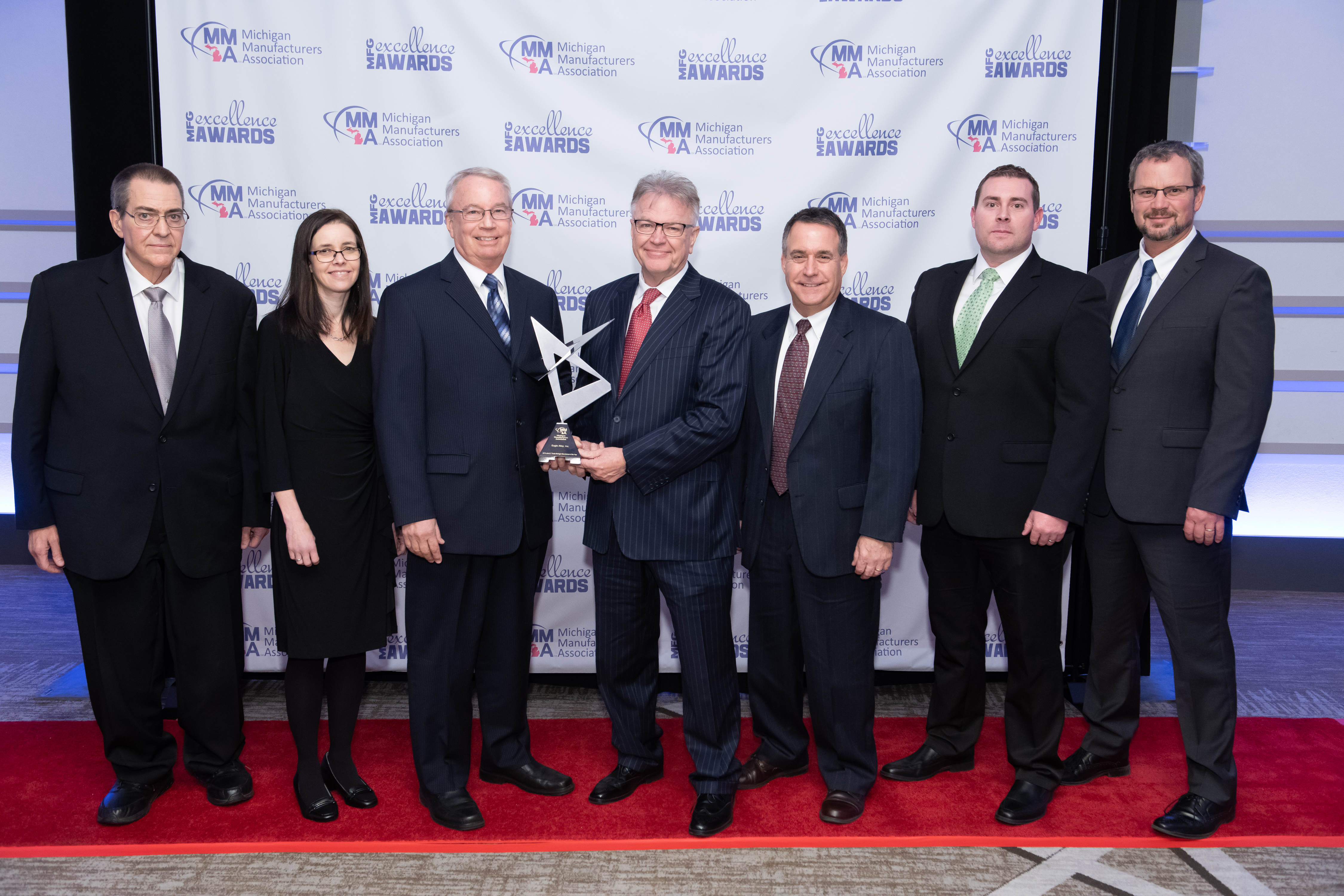 Eagle Alloy accepts award for Michigan Manufacturer of the Year, 2018