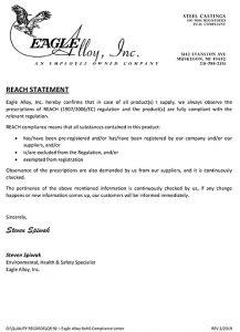 Eagle Alloy QR 92 REACH compliance certification