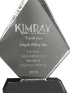 Kimray on-time delivery trophy