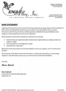 Eagle Alloy RoHS Statement, October 2019
